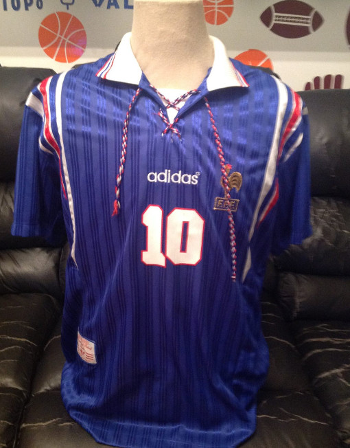 Adidas Soccer Jersey France Number 10 Zidane Euro 1996